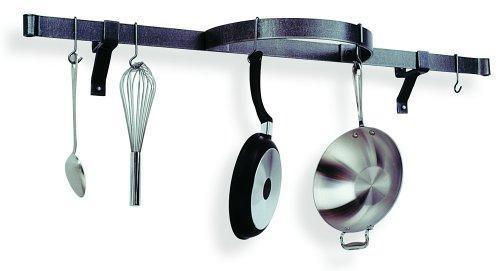 Enclume Premier Shelf with Half Circle Wall Pot Rack, Hammered Steel