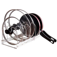 Advutils Expandable Pots and Pans Organizer Rack for Cabinet - Holds 7 Pans & Lids to Keep Cupboards Tidy - Adjustable Bakeware Rack for Kitchen and Pantry