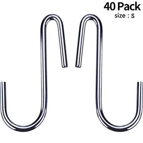 40 Pack Heavy Duty S Hooks Stainless Steel S Shaped Hooks Hanging Hangers for Kitchenware Spoons Pans Pots Utensils Clothes Bags Towers Tools Plants (Silver)