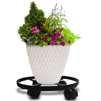 "Amagabeli 14"" Metal Plant Caddy HEAVY DUTY Iron Potted Plant Stand with Wheels Round Flower Pot Rack on Rollers Dolly Holder on Wheels Indoor Outdoor Planter Trolley Casters Rolling Tray Coaster Black"