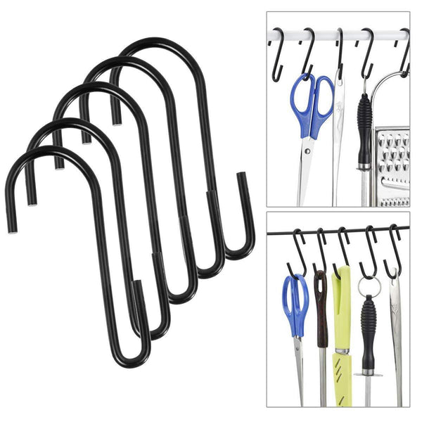 30 Pack Black Premium S Shaped Hooks Heavy Duty S Hanging Hooks Hangers Large Size for Kitchen,Closet,Storage Room, Bathroom, Garage,Office,Workshop (L/30Pack)