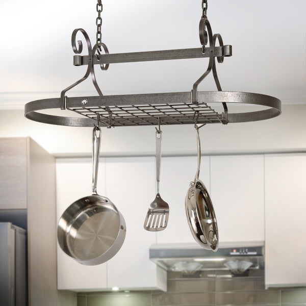 Scrolled Oval Pot Rack Hammered Steel