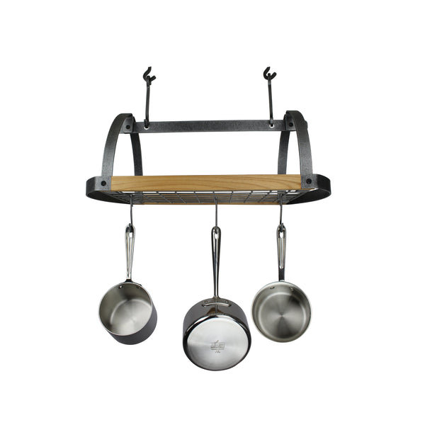Decor Oval Ceiling Pot Rack w/ Alder Shelf Hammered Steel - Enclume Design Products