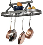 "Gourmet Classic Oval Ceiling Pot Rack w/ 12 Hooks, 2 S Hooks and 6"" Chain"
