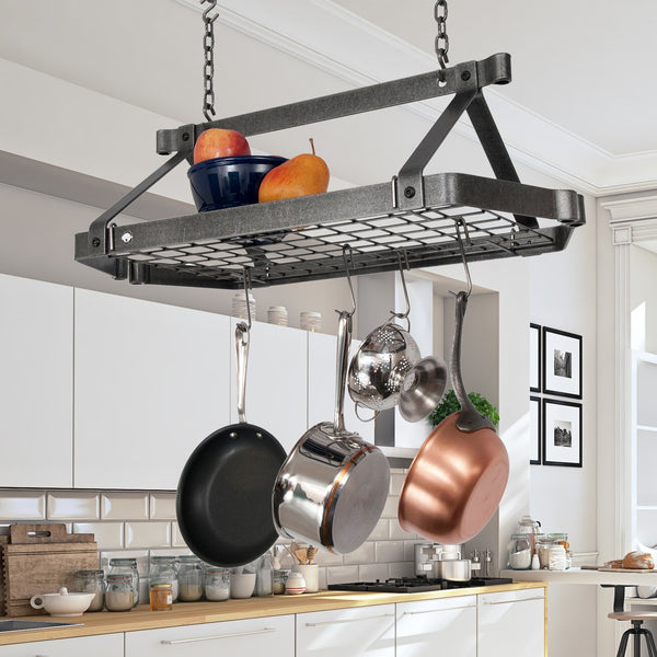 "Retro Rectangle Ceiling Pot Rack w 12 Hooks, 2 S Hooks & 6"" Chain"
