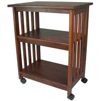 Mission Style Kitchen Microwave Cart in Chestnut - Made in USA