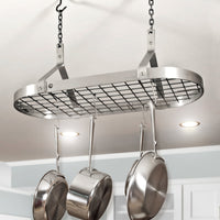 Contemporary Ceiling Pot Rack w/ 12 Hooks Stainless Steel