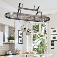 Scroll Arm Oval Ceiling Pot Rack w/ 24 Hooks