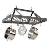 Carnival Rectangle Ceiling Pot Rack Hammered Steel