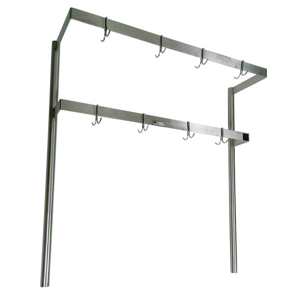 John Boos PRD3A Stainless Double Bar Pot Rack - Table Mount - 84""