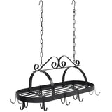 Victorian-Style Hanging Pot Rack Organizer w/ 10 Hooks, Shelf - Black