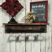 Industrial shelves- industrial pot rack- rustic wall shelf