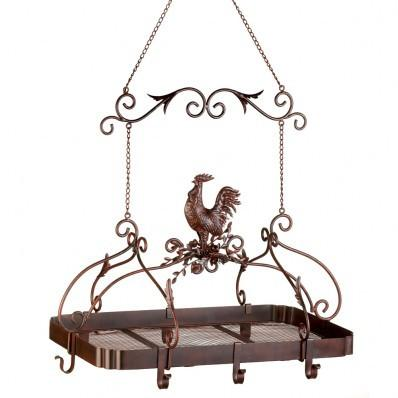 Iron Country Rooster Kitchen Pot Rack 10012657