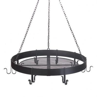 Round Hanging Black Iron Pot Rack 10015250 Free Shipping