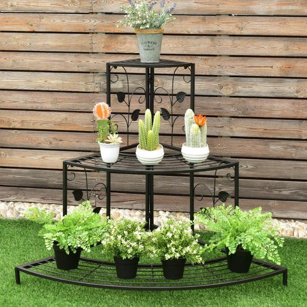 3 Tier Floral Corner Plant Stand Metal Flower Pot Rack Stair Display Ladder Outdoor Furniture