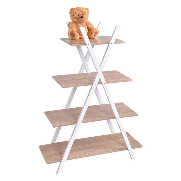 X-Shape 4-Tier Display Shelf Rack Potting Ladder-White