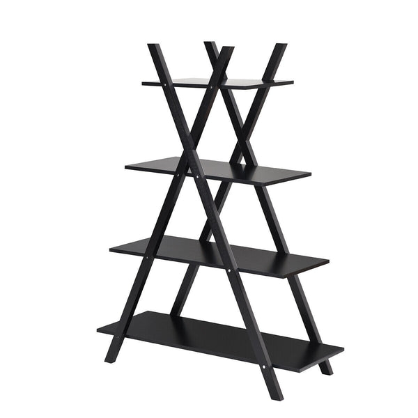 X-Shape 4-Tier Display Shelf Rack Potting Ladder-Black
