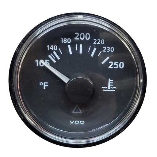 VDO ViewLine Onyx 250F Water Temperature Gauge 12-24V with VDO Sender US Thread Adapters - Bezel NOT Included [A2C53413355-K1] VDO 754059057248 Payson Marine