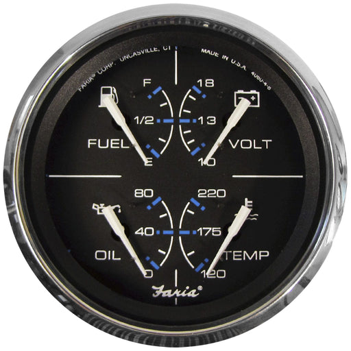 "Faria Chesapeake Black w-SS Bezel 4"" Multifunction [Fuel Level 