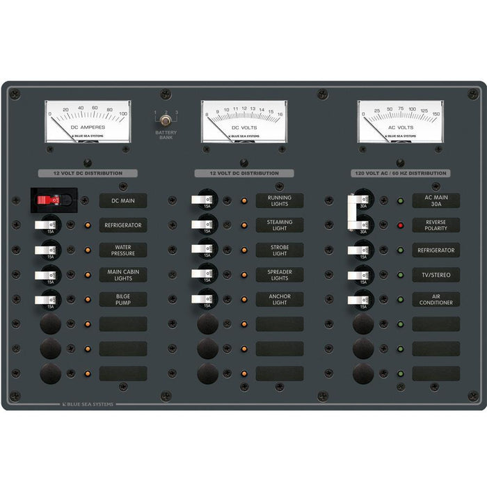 Blue Sea 8084 AC Main +6 Positions-DC Main +15 Positions Toggle Circuit Breaker Panel (White Switches) [8084] Blue Sea Systems 632085080846 Payson Marine