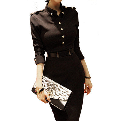 Women Black Office Work Wear Dress