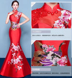 Fashion Red Embroidery Traditional Dress