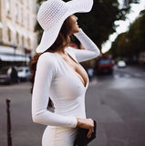 Warm Fabric White Party Deep V-neck long sleeve dress