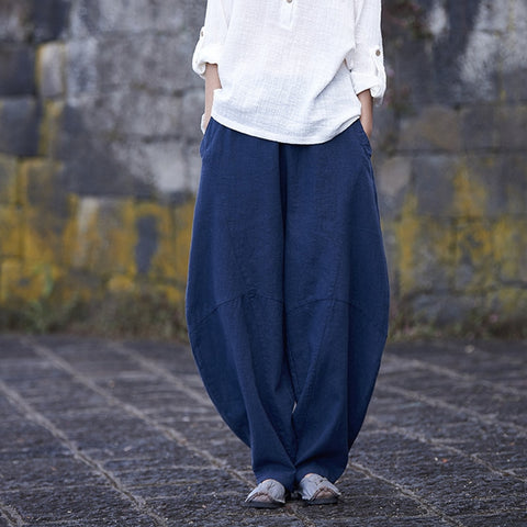 Women Long Trousers Elastic Waist  Pants
