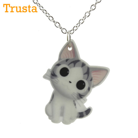 "Cute Cat Pendant 16""Short Chain Necklace"