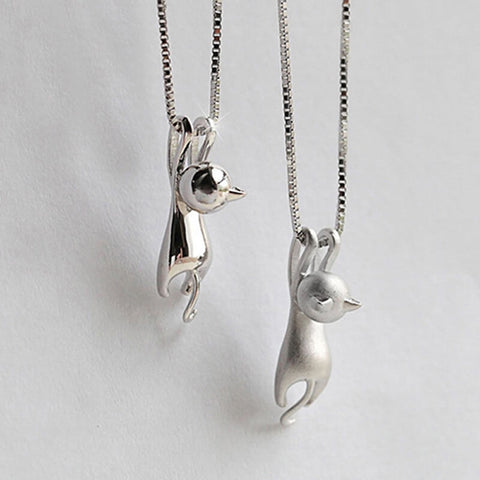 Cute Shiny Side/Dull Polish Hanging Cat Pendant Choker
