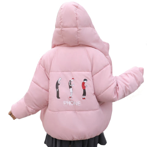 Hooded Cotton Padded Warm Thicken Winter Jacket