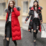Women Slim Solid Fur Hooded Ladies Long Parkas Jacket