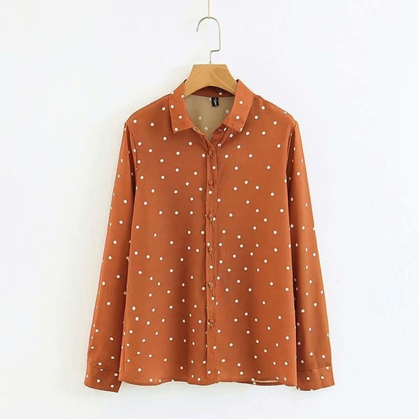 Autumn Long Sleeve Polka Dot T-Shirt