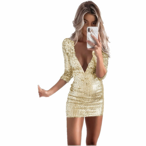 Women Short Sexy Party Sequin Dress