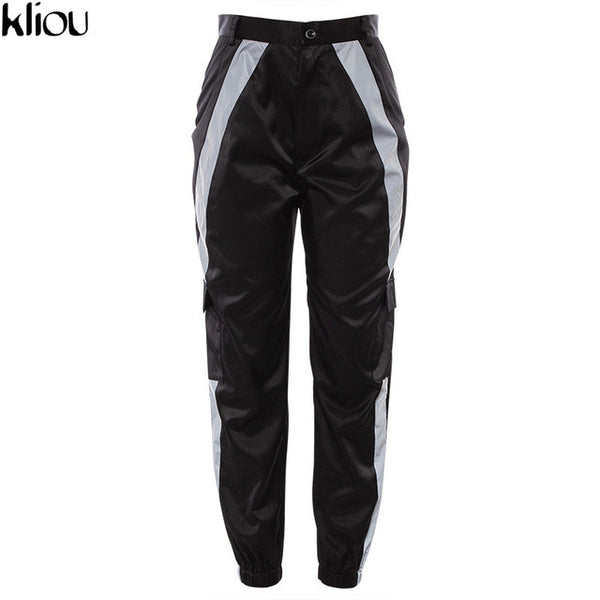 Women night reflective striped pants