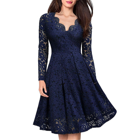 Women Elegant vintage Sexy V Neck  Dress