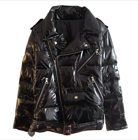 Women Black Zipper Jacket women windbreaker Coat
