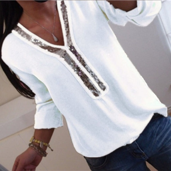 Women Sequins Chiffon Blouse Shirt