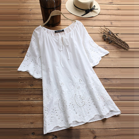 Fashion White Blouse Women Short  Tops
