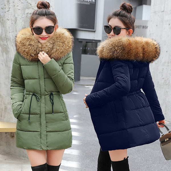 Fake Fur Parkas Women Down Jacket