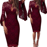 Women  Front Floral Lace Ruffle   Dress