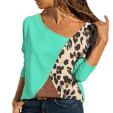 Plus Size Leopard Patchwork Blouse