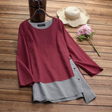 Women Plus Size Linen Blouse