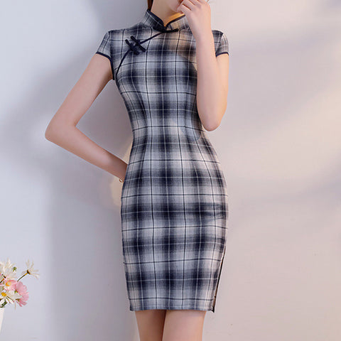Cotton Short Qipao Summer Dress