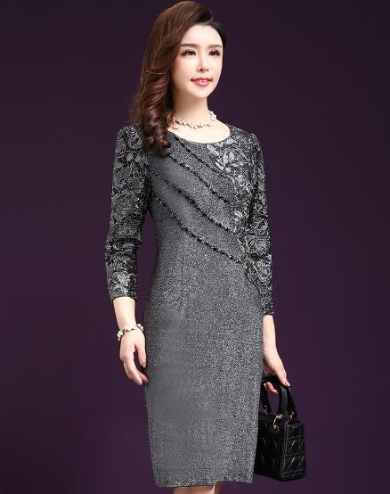 Autumn Spring Middle Aged Women Dress