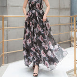 Colorful Floral Printed Chiffon Long Maxi Dress