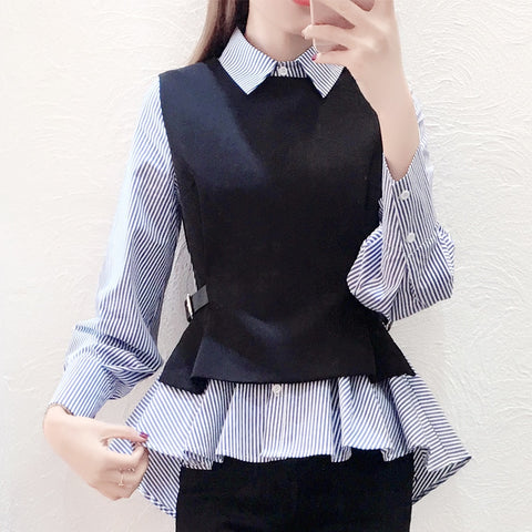 Stripe Slim Casual Shirt Women Tops