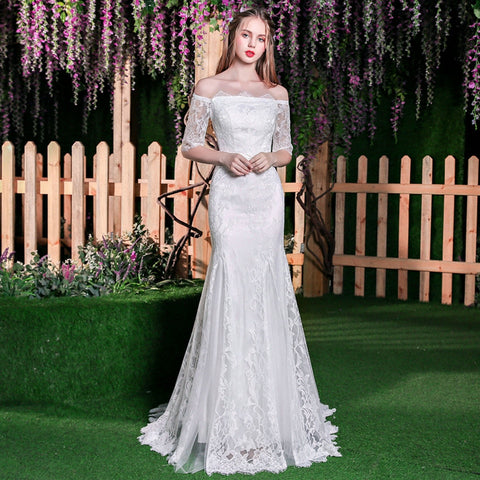 Elegant White Mermaid Wedding Dress