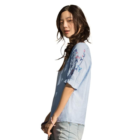 Casual embroidery women blouse