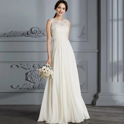 Sleeveless Floor-Length Wedding Gown for Women